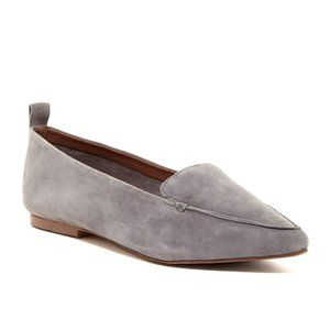 Jeffrey Campbell Vionnet Pointy Grey Suede Flats